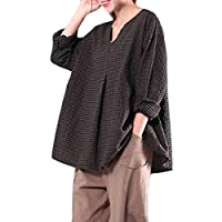 GRMO Womens Vintage V-neck Plus Size Loose Long Sleeve Checked Blouse Top T-Shirt Green 5XL