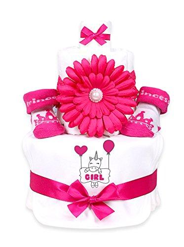 Trend Mama Windeltorte pink Mädchen Lätzchen Babysocken Haarband Einhorn Girl