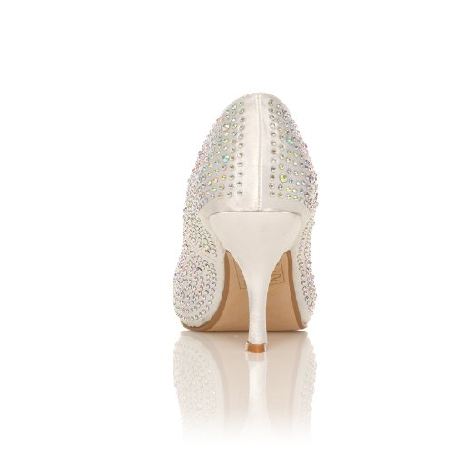 Shuwish Uk, Blanc Blanc Satin Blanc Femme - Blanc Satin Talons Pour Femme