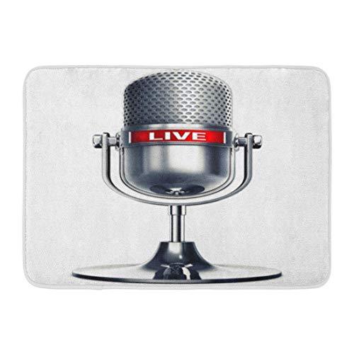 """mfsore Koperororo Fußmatten Badteppiche Outdoor/Indoor Tür Mat Mic 3D-Rendering von Mikrofon The Word Live Digital Podcast Radio Badezimmer Dekor Teppich 16""""x 24"""""""