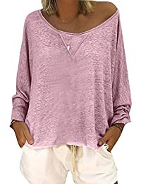Yying Mujer Sexy Otoño Suelta Cuello Redondo Manga Larga Blusa Casual Jumper T-Shirt S