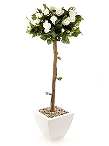 Closer2Nature Artificial 4ft White Rose Tree - Portofino Planter Not Included