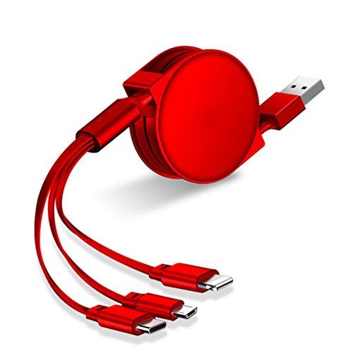 Preisvergleich Produktbild MTTLS Einziehbare Multifunktionale Ladekabel USB Schnellladung 3 In 1 Für iPhone X / 8 / 7 / Ipad / MacBook,  Android,  Typ-C-Schnittstelle Multi-Kabel, Red