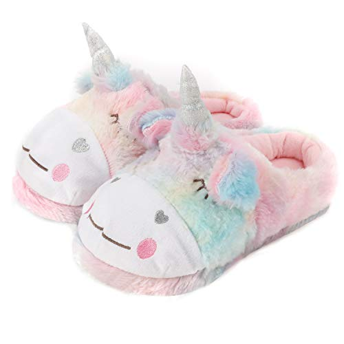 Ladies Fluffy Novelty Plush Unicorn, Sheep Animal Slippers, Soft Fleece Lining, Indoor Outdoor Slipper