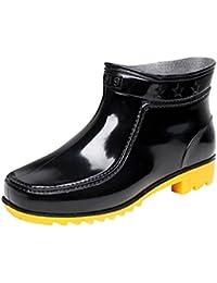 LvRao Zapatos de Tacón Alto Botas Impermeable de la Lluvia de los Hombres Botines de Goma Brillante Botas de Agua Botas Corto Plana Tobillo