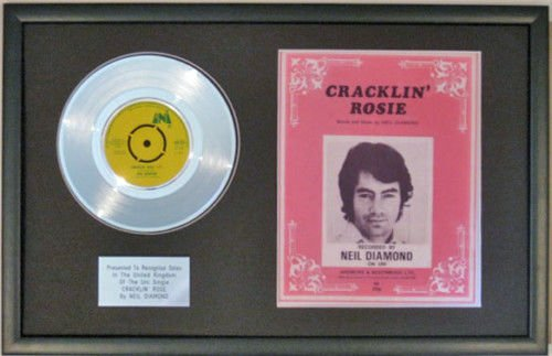 UK Music Awards Neil Diamond 17,8cm Platinum Disc & Lied Tabelle Cracklin Rose -