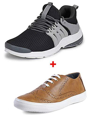 LeatherKraft Men's Combo Pack of 2 Stylish New Design Sports Shoes & Sneakers (8, Gray/Tan)
