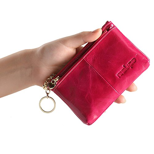 ITSLIFE da donna delicate Portamonete in vera pelle morbida Luxury Design Card Holder Tripla Zip portamonete con portachiavi rosa rosso rose red taglia unica