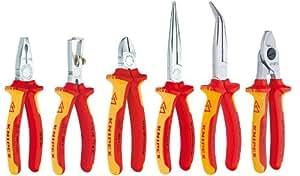 Knipex Set de pinces VDE avec pince universelle/pince à dénuder/pince coupante/pince demi-ronde droite/pince demi-ronde coudée/pince coupe-câble