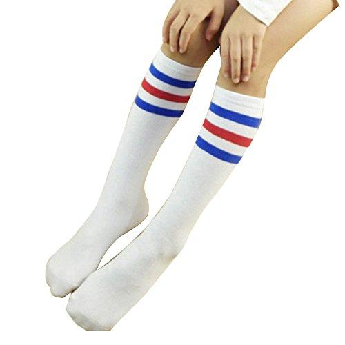 TININNA Bambino Strisce Sport Calzini di cotone Calzini lunghi con 3 Striped Calzini al ginocchio 4-15 Anni Bianco + Blu