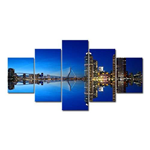 Lyqyzw Leinwand Druck Rotterdam Holland Stadt Scape Poster 5 Panel Rahmen Leinwand Malerei Wandkunst Bild Drucken Wohnzimmer Wohnkultur A100X55Cm