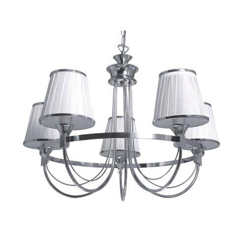 Spot-Light Kronleuchter Porta 5-flammig, chrom / weiß