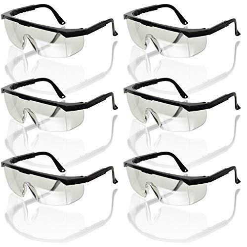 6 Schutzbrillen Brille Seitenschutz Bügel Verstellbar Sicherheitsbrille