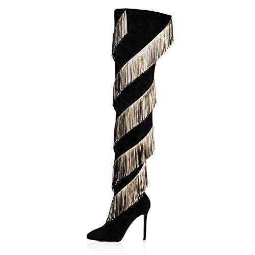 Over The Knee Boots Damen High Heels Stiefel Sexy Schuhe Stöckel Absatz Schlank Abend High Heels Stiefel,37 (High Heel Heels High Knee)