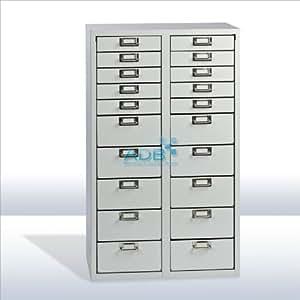 ADB Schubladenschrank | Schubladencontainer 20 Schübe RAL 7035 | 86 x 53 x 40 cm