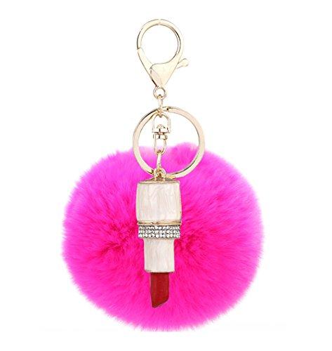 Mxixi couleur artificiel unie lapin boule de fourrure rouge à lèvres pendentif porte-clés moelleux sac à main charme clé anneau clé de voiture décoration (Couleur 5)