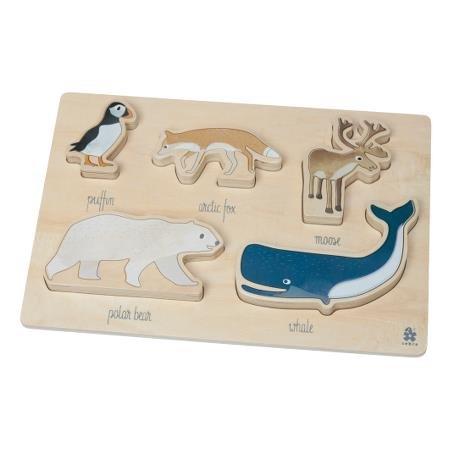 Sebra kräftiges Puzzle aus Holz, Artic Animals, Holzpuzzle mit arktischen Tieren 5-teilig ab 1 Jahr NEU Sebra0393