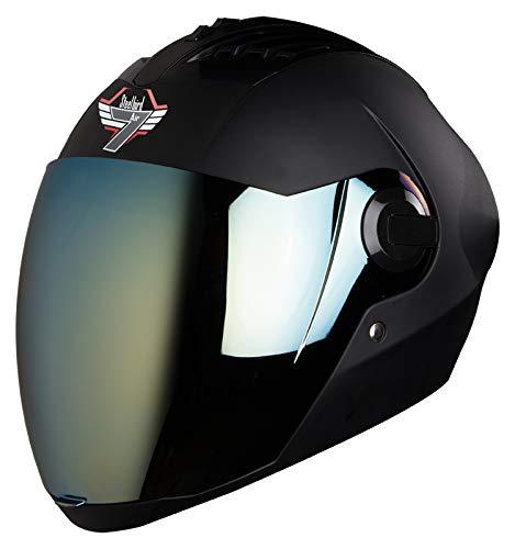 Steelbird SBA-2 7WINGS Full Face Helmet In Matt Finish with Tinted Visor (Large 600 MM, Matt Black/Gold Visor)