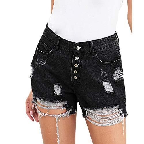 WFDDSD Shorts Damen Vintage Faded Ripped Denim hoch taillierte Knöpfe Taschen Shorts Raw Edges Sommer Hot Pants Shorts Schwarz XL (Raw-edge-denim-shorts)