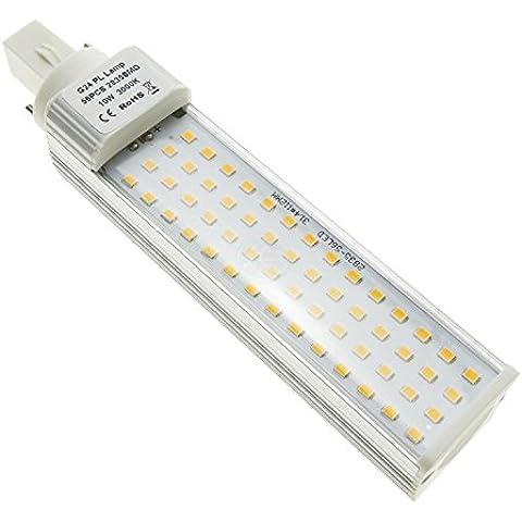 Cablematic - Lámpara tubo LED PLC G24 85-265VAC 10W luz cálida bombilla