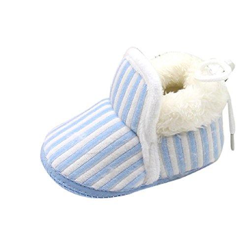 OverDose Säugling Baby Schuhe Gehen Kleinkind Mädchen Jungen Krippe Schuhe Weiche Baumwolle weich Sohle Streifen Schuhe (0-12 Monate) (0 ~ 6 Monate, Blau)