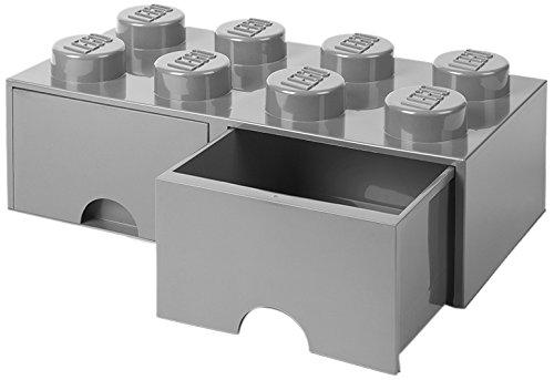 Möbel Kinder-schreibtisch Platz 8 (LEGO 4006 Brick 8 Knöpfe, 2 Schubladen, stapelbar Aufbewahrungsbox, 9,4 l, grau, Plastik, Legion/M. Stone Grey, 50 x 25 x 18 cm)