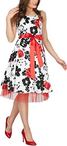 Black Butterfly 'Rhya' Vintage Serenity Kleid im 50er-Jahre-Stil Weiß & Rot