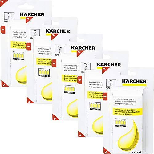 5x Kärcher 6.295-302.0 Nettoyant vitres concentré (4 x 20 ml) détergent pour nettoyeurs de vitres