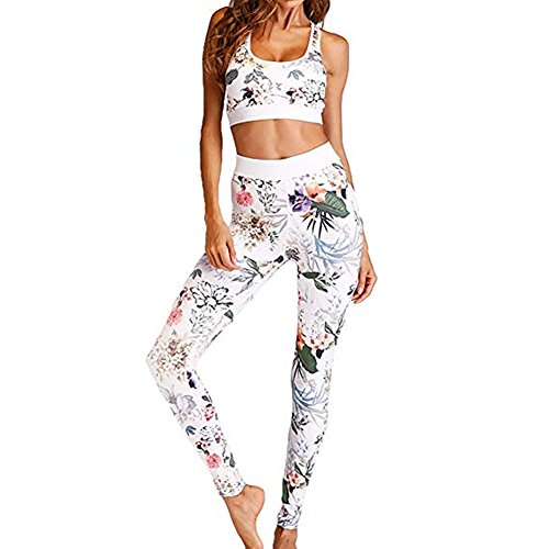 Morbuy Bekleidung Yoga Set, Damen Sportbekleidung Hohe Yoga Leggings Pullover Sportanzug Stitching Sport Wear Casual Fitness Sportanzug Frauen Hemd Hosen für Yoga Workout (M)
