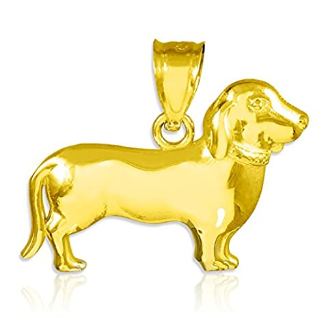 Little Treasures - 14 ct - Polished Gold Weiner Dog Dachshund Puppy Charm Pendant Necklace (Comes with an 18
