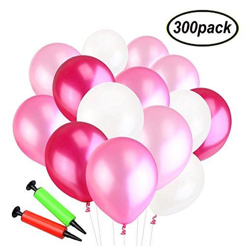 Swallowzy Luftballons mit Pumpe, 300 Latexballons und 2 Ballonpumpe, Farbige Ballons, Bunte Ballons für Geburtstagsfeiern, Party, Hochzeitsfeiern (Rot / Rosa / Weiß)