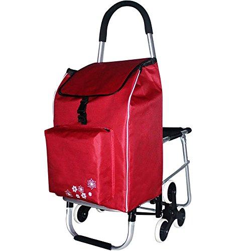 HCC& Einkaufswagen Dolly Mehrzweck tragbar Hohe Kapazität Wagen Die Treppe heraufsteigen Mit Sitz Nutzwagen Aluminiumlegierung Gummi-Silent-Rad Mobiler Faltwagen , Red (Anhängerkupplung Dolly)