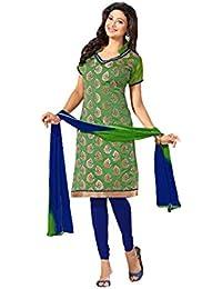 Terramart_ Salwar Set Material For Girls / Women - Chanderi Cotton ( Olive Green & Navy Blue )