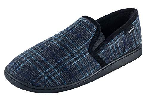 Ommda Hausschuhe Herren Plaid Wolle Warm Pantoffeln Plüsch Gefüttert Memory Foam Mokassin Rutschfest Haus Wärmehausschuhe 42 Tiefes Blau