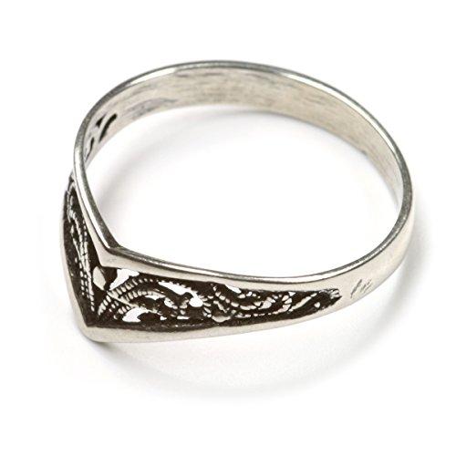 Schmuck Ring filigran 925 Sterlingsilber Damenring Jugendliche sehr elegant, Ringschiene: 3mm Größe 46