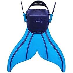 Kingzuo Direct Enfants Nageoires Plongée Natation Cute Poissons queue forme flippers pour enfants Enfant (bleu)