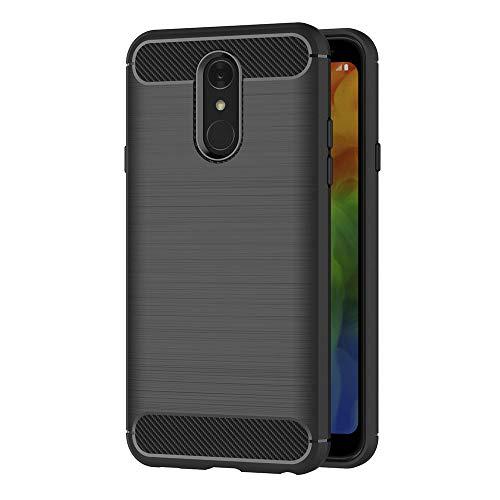 AICEK Compatible LG Q7 Hülle, Schwarz Silikon Handyhülle für LG Q7 Schutzhülle Karbon Optik Soft Case (5,5 Zoll)