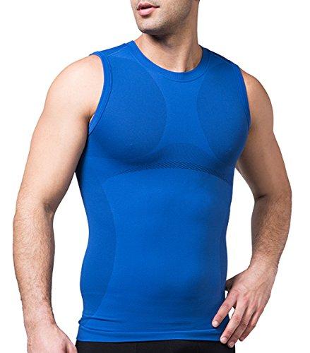 SodaCoda Sodacoda Herren Base-Layer Shirt - Gym Alltags Freizeit Hemd Ärmellos (Blau, S)