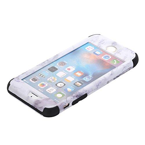 Cover iPhone 6S plus 5.5, Custodia iphone 6 plus, iphone 6S plus Silicone Cover, MoreChioce 360°Protection Moda Painting Colorato Marmo Modello Custodia, Ultra Slim Soft Silicone Gomma Morbido TPU Rag Marmo Nero