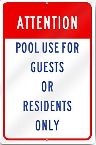 L'Attention piscine Utilisation signer 30,5 x 40,6 cm Aluminium lourd réfléchissant