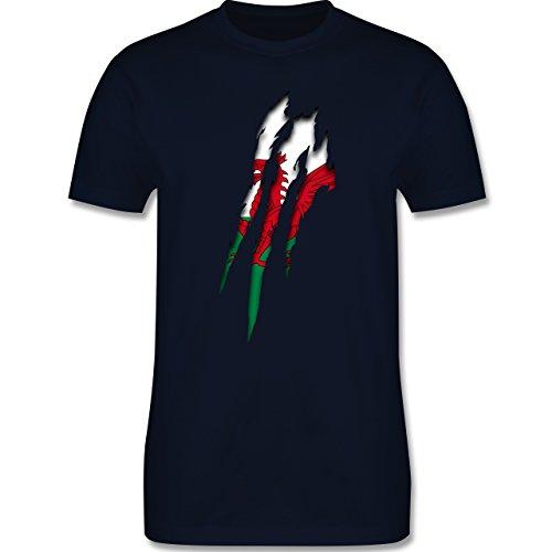 Länder - Wales Krallenspuren - Herren Premium T-Shirt Navy Blau