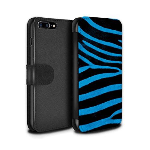 Stuff4 Coque/Etui/Housse Cuir PU Case/Cover pour Apple iPhone 7 Plus / Vert Design / Zèbre animale Peau/Motif Collection Bleu