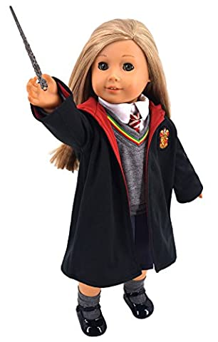 Ebuddy Magic school uniform- Inspired Doll Clothes Shoes for American Girl Dolls: 8pc School Uniform Include Shirt, Sweater, Skirt, Necktie, Socks, Leather shoes,Magic wand and Magic