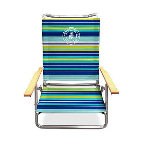 Caribbean Joe CJ-7740LMST five position folding beach chair with wood arms, Lime Stripe (Chair Folding Arm)