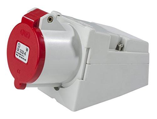 as - Schwabe 60578 CEE-Wandsteckdose 400V / 16A / 4polig, IP44 Gewerbe, Baustelle
