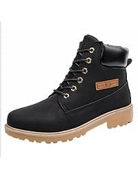 Zarupeng Los Hombres del Tobillo Bajo Recortar el Tobillo Plano Botas de Otoño Invierno Casual Martin Shoes (41, Amarillo)