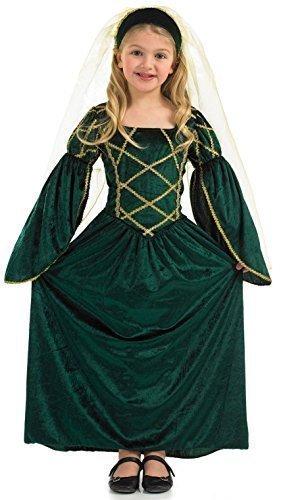 Mädchen Kinder Reich Lang Gesamtlänge Grün Tudor Mittelalter Mädchen Buch Tag Kostüm Verkleidung Outfit 4-12 jahre - Grün, Grün, 6-8 (Tudor Kostüme)