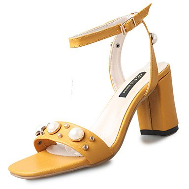 LvYuan Da donna Sandali Club Shoes PU (Poliuretano) Primavera Estate Formale Club Shoes Perle di imitazione Quadrato Nero Giallo Cachi 5 - 7 cm Black