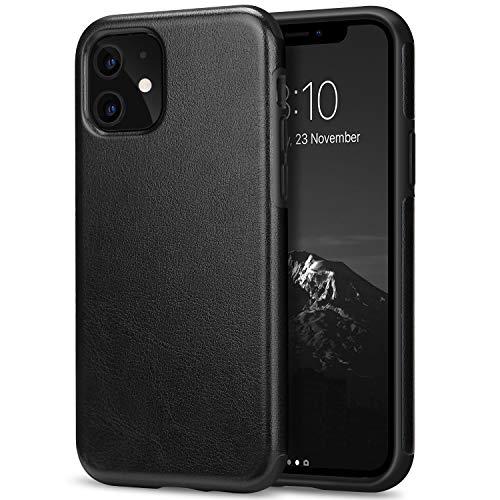 TENDLIN Coque iPhone 11 Etui de Protection en Cuir et TPU Compatible avec iPhone 11 (Noir)