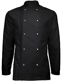 Instex Chaqueta de cocinero, negro banquete abrigo con cierre de presión, restaurante ropa, Unisex, ins16